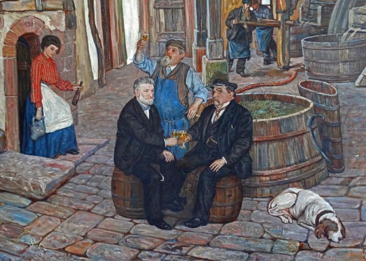 Detail: Hofszene mit Weinprobe (Dr. Karl Lampert mit Vater und Kellermeister))