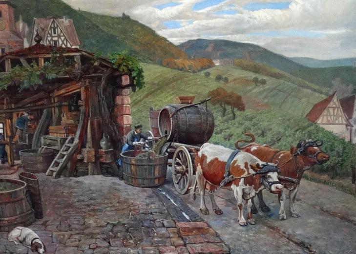Bildmitte, Detail: Kelterhaus und Ochsengespann vor Landschaftspanorama