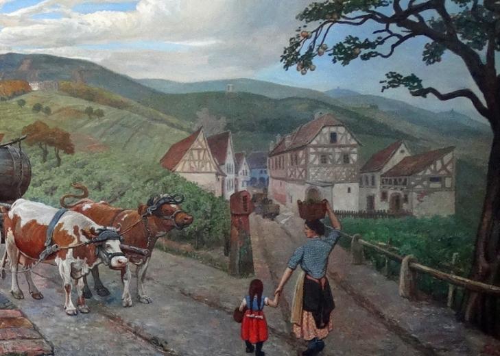 Detail rechts: Ochsengespann und Ernethelferin